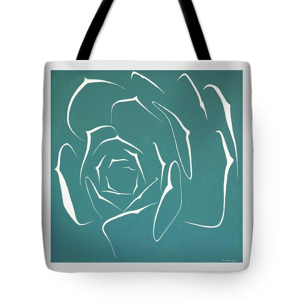 Tote Bag featuring the painting Succulent In Turquoise by Ben Gertsberg