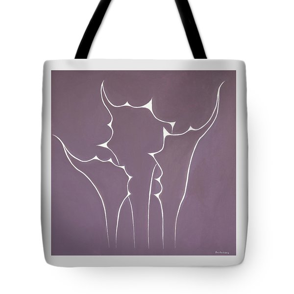 Tote Bag featuring the painting Succulent In Violet by Ben Gertsberg
