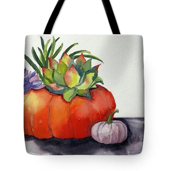 Succulents In Pumpkin Tote Bag