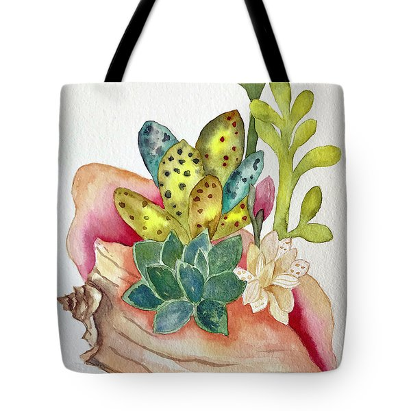 Succulents In Shell Tote Bag