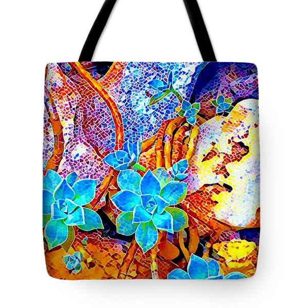 Succulents On River Rock Tote Bag
