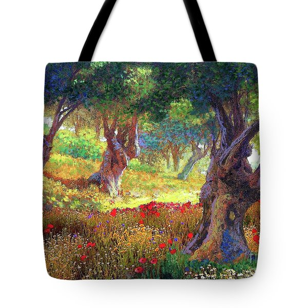 Tote Bag featuring the painting Tranquil Grove Of Poppies And Olive Trees by Jane Small