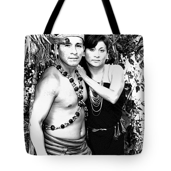 Tote Bag featuring the photograph Sucua Shaman And Spouse by Al Bourassa