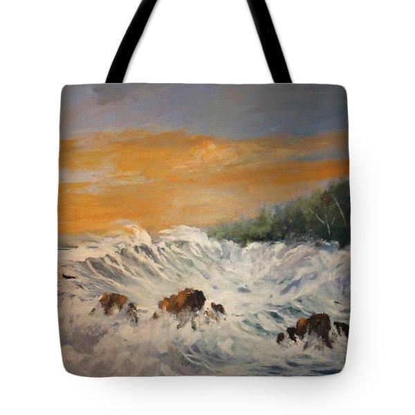 Sudden Turbulence At Suset Tote Bag