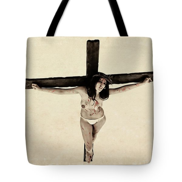 Suffering Of A Woman On Cross Tote Bag