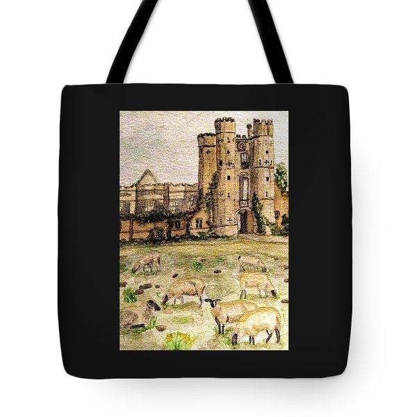 Suffolk Sheep Grazing In Sussex Tote Bag by Angela Davies