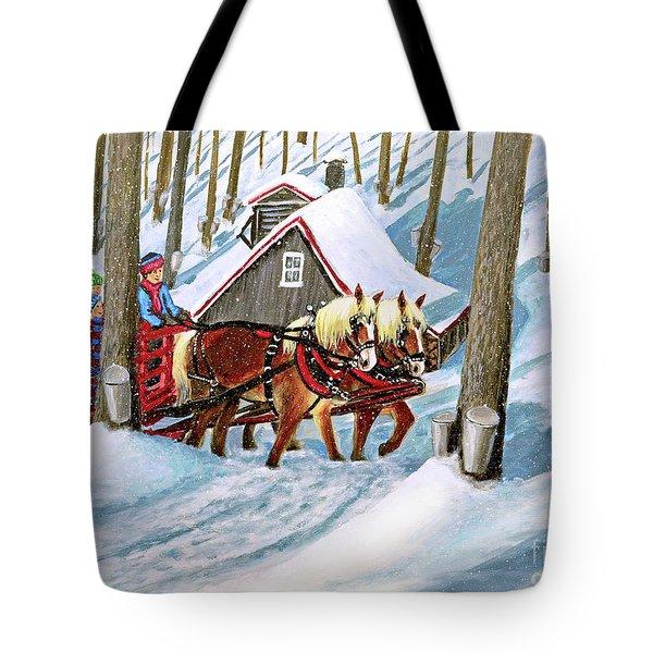 Sugar Bush Sleigh Ride Randonne En Traneau Sucre Tote Bag by Patricia L Davidson