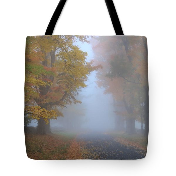 Sugar Maples On A Misty Country Road Tote Bag by John Burk