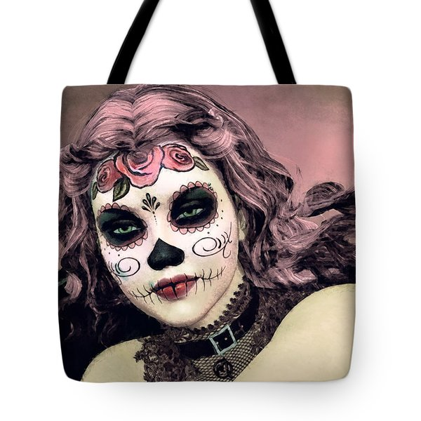 Sugar Skull Angel Tote Bag by Maynard Ellis