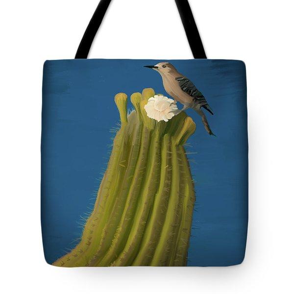 Sugaro Cactus And Cactus Wren Tote Bag by Wally Hampton