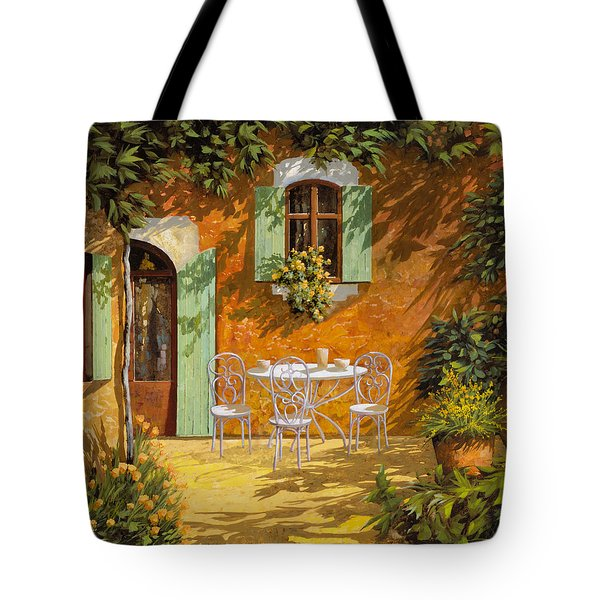 Tote Bag featuring the painting Sul Patio by Guido Borelli