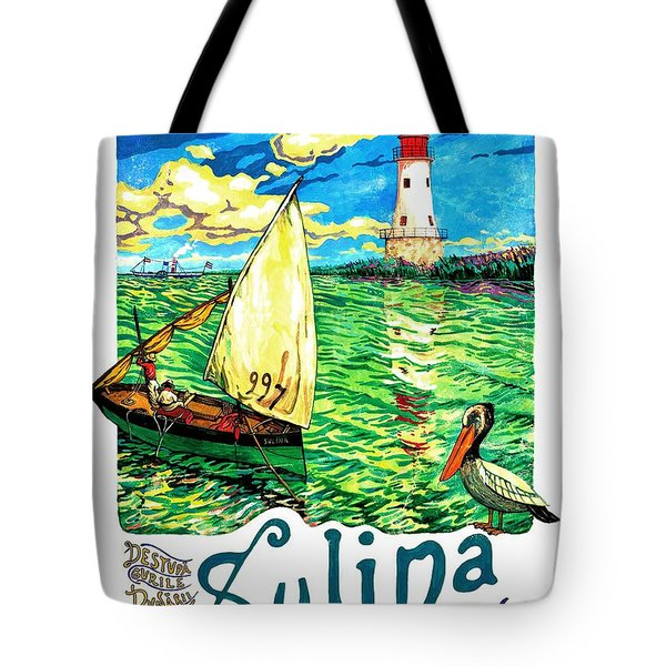 Sulina, Romania, Sailing Boat, Lighthouse Tote Bag
