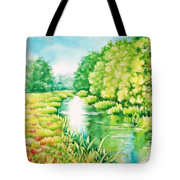 Tote Bag featuring the painting Summer Along The Creek by Inese Poga