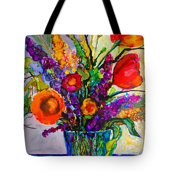 Tote Bag featuring the painting Summer Arrangement by Priti Lathia
