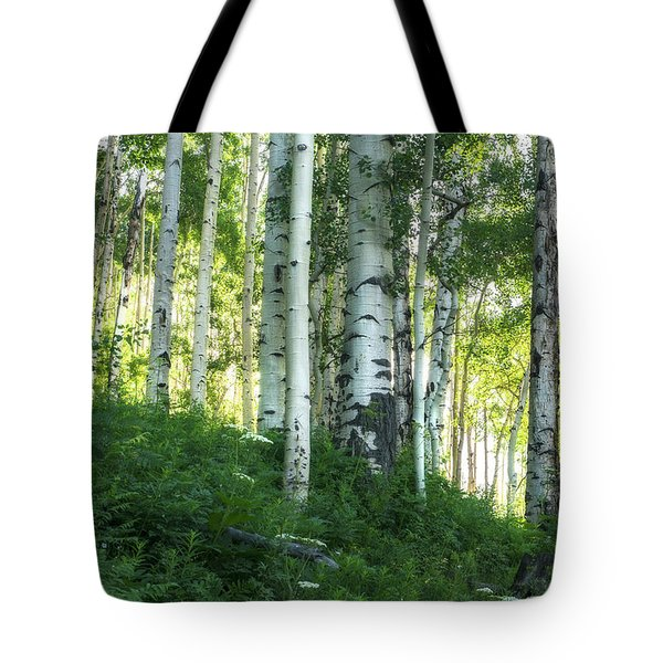 Tote Bag featuring the photograph Summer Aspen Forest by Tim Reaves