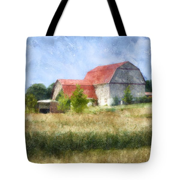 Tote Bag featuring the digital art Summer Barn by Francesa Miller