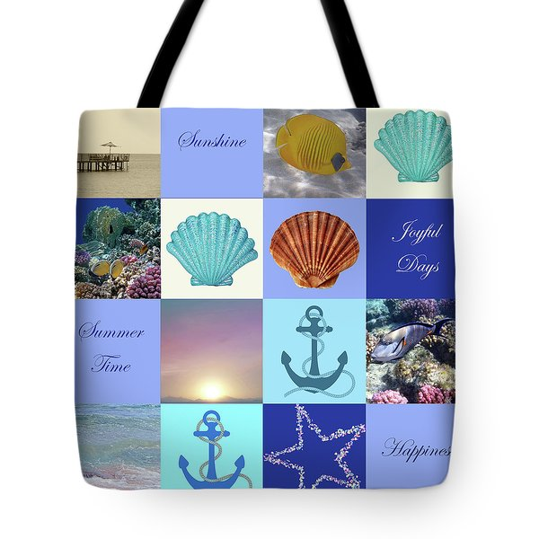 Summer Beach House Collage Tote Bag
