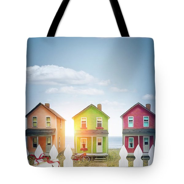 Summer Beach Huts By The Seashore Tote Bag by Sandra Cunningham