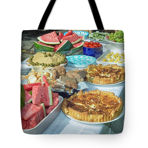 Summer Buffet In Garden Tote Bag by Patricia Hofmeester