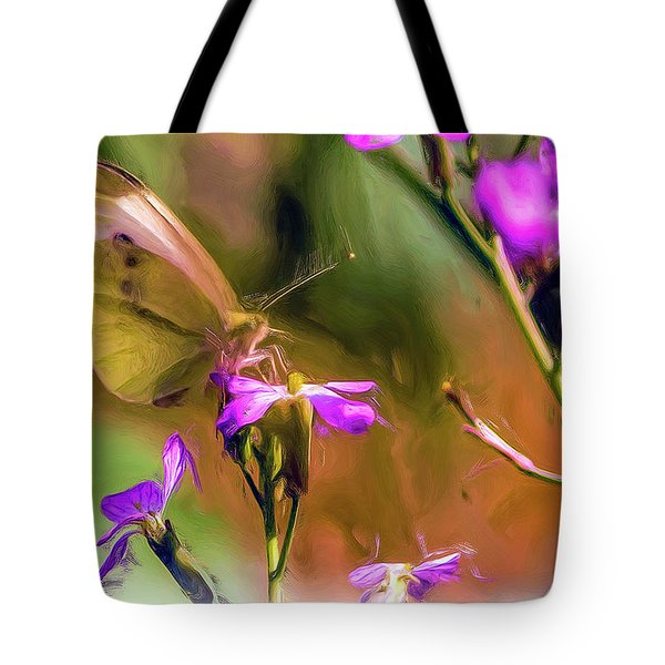 Tote Bag featuring the tapestry - textile Summer Butterfly by Dennis Bucklin