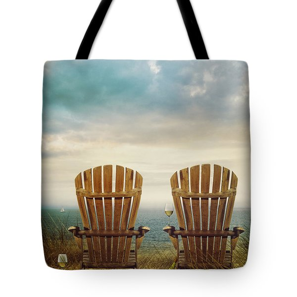 Summer Chairs Sand Dunes And Ocean In Background Tote Bag