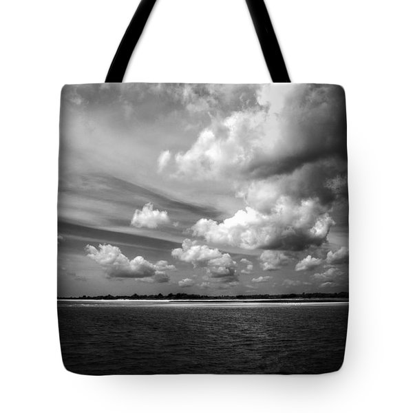 Summer Clouds In Back And White Tote Bag