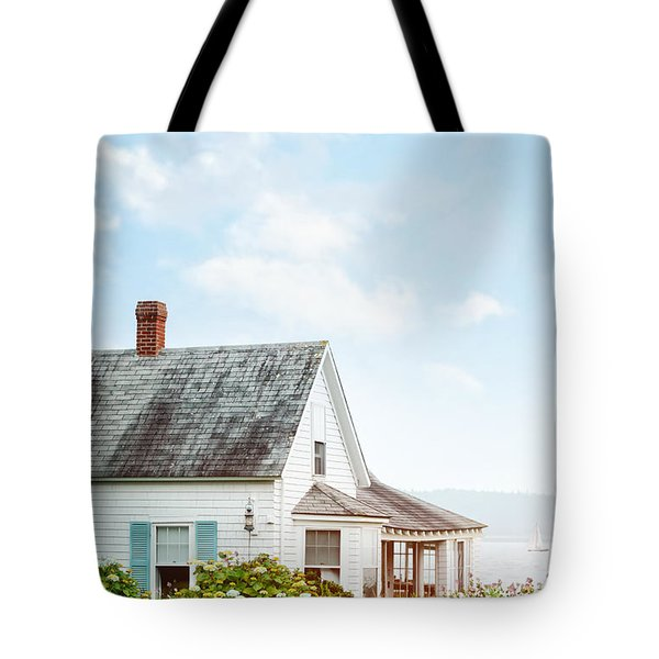 Summer Cottage And Flowers By The Ocean Tote Bag