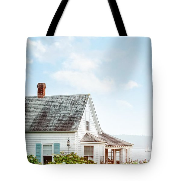 Summer Cottage And Flowers By The Ocean Tote Bag by Sandra Cunningham
