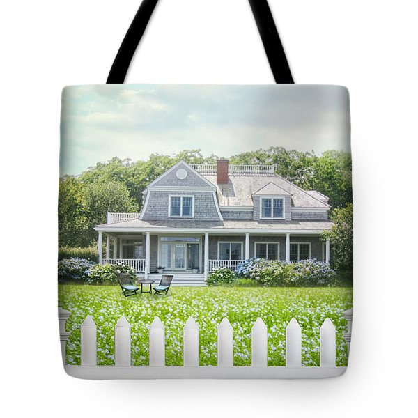 Summer Cottage And White Picket Fence With Flowers Tote Bag by Sandra Cunningham