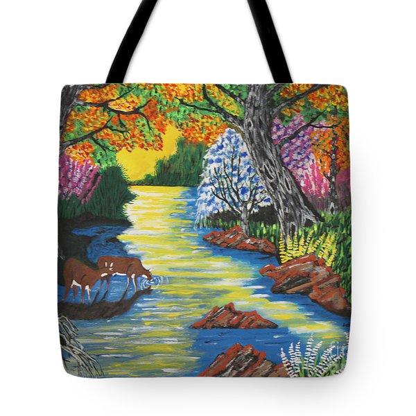 Summer  Deer Crossing Tote Bag