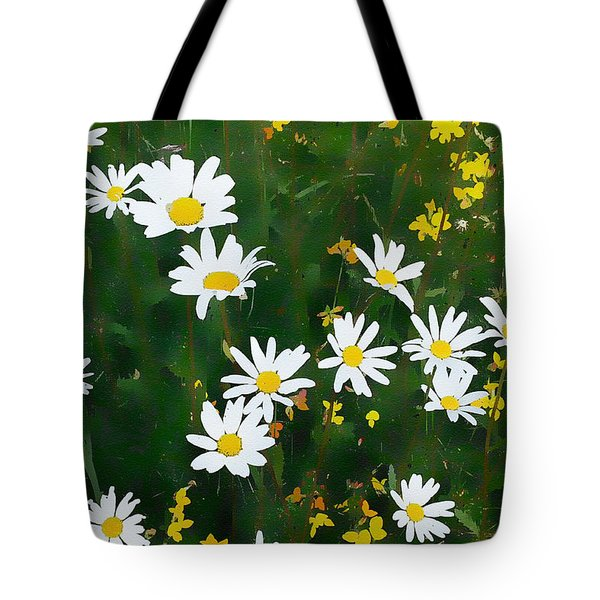 Tote Bag featuring the digital art Summer Daisies by Julian Perry
