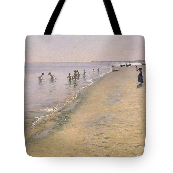 Summer Day At The South Beach Of Skagen Tote Bag by Peder Severin Kroyer