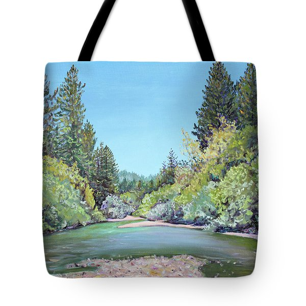 Summer Day On The Gualala River Tote Bag by Asha Carolyn Young