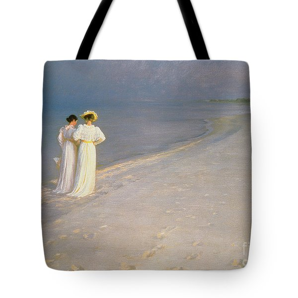Summer Evening On The Skagen Southern Beach With Anna Ancher And Marie Kroyer Tote Bag