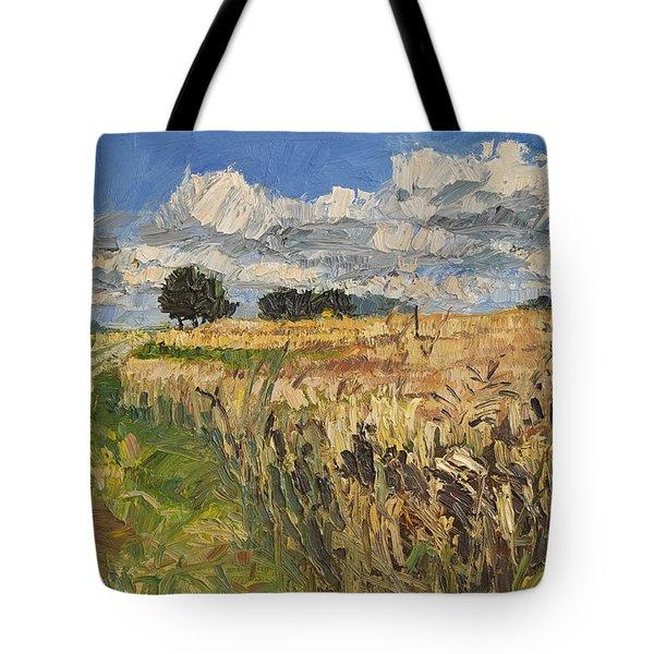 Summer Fields Plein Air Landscape Tote Bag by Martin Stankewitz