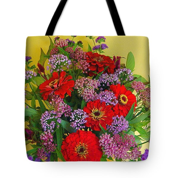 Tote Bag featuring the photograph Summer Flower Bouquet by Byron Varvarigos