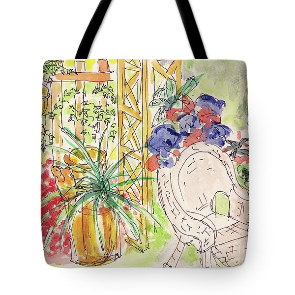Tote Bag featuring the drawing Summer Garden by Barbara Anna Knauf