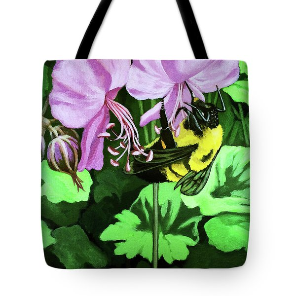 Tote Bag featuring the painting Summer Garden Bumblebee And Flowers Nature Painting by Linda Apple