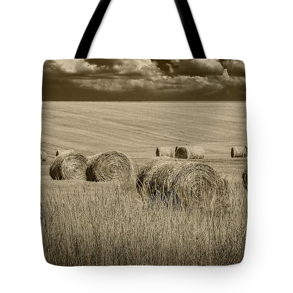 Summer Harvest Field With Hay Bales In Sepia Tote Bag