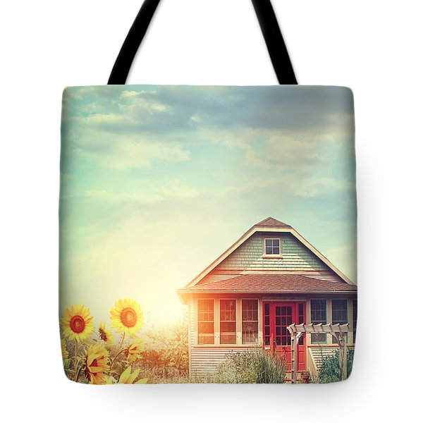 Summer House With A Garden Full Of Flowers Tote Bag by Sandra Cunningham