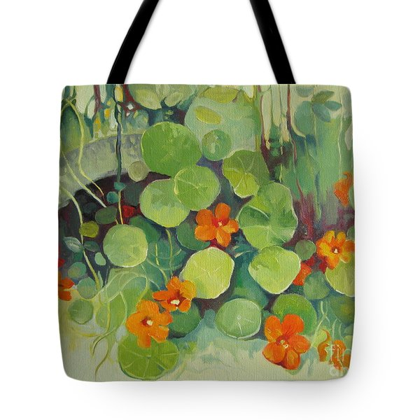 Tote Bag featuring the painting Summer In The Garden by Elena Oleniuc