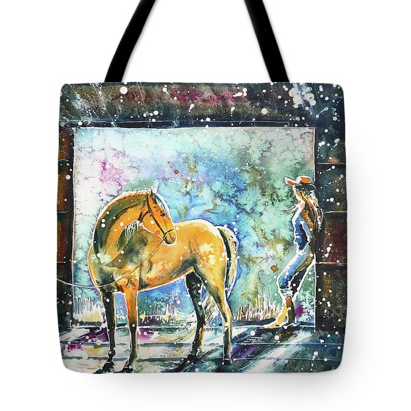 Tote Bag featuring the painting Summer Morning At The Barn by Zaira Dzhaubaeva