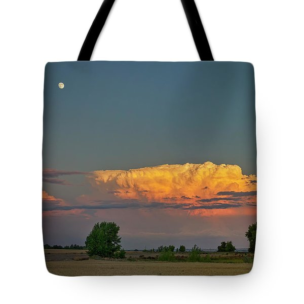 Tote Bag featuring the photograph Summer Night Storms Brewing And Moon Above by James BO Insogna