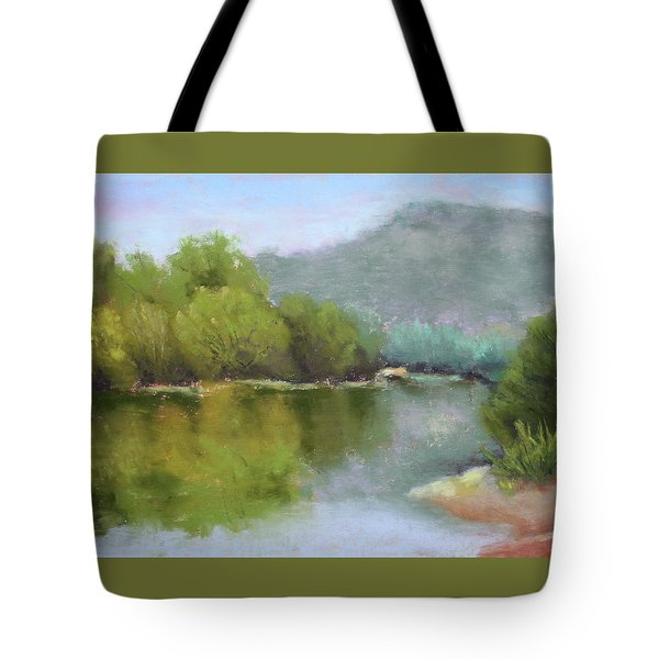 Tote Bag featuring the painting Summer On The River by Nancy Jolley