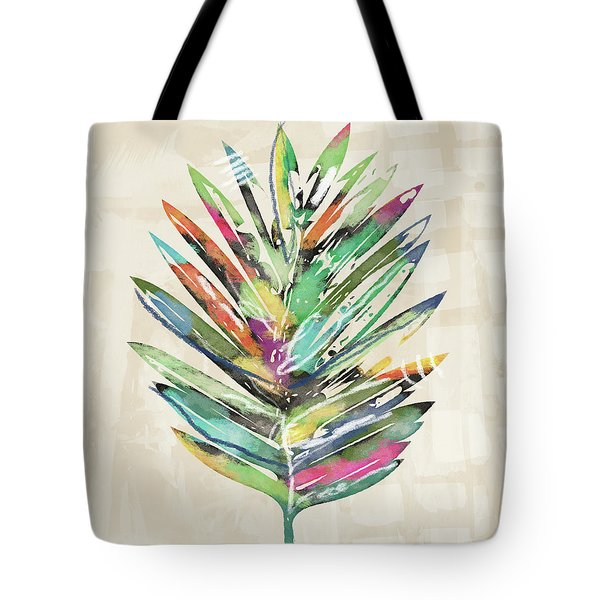 Tote Bag featuring the mixed media Summer Palm Leaf- Art By Linda Woods by Linda Woods