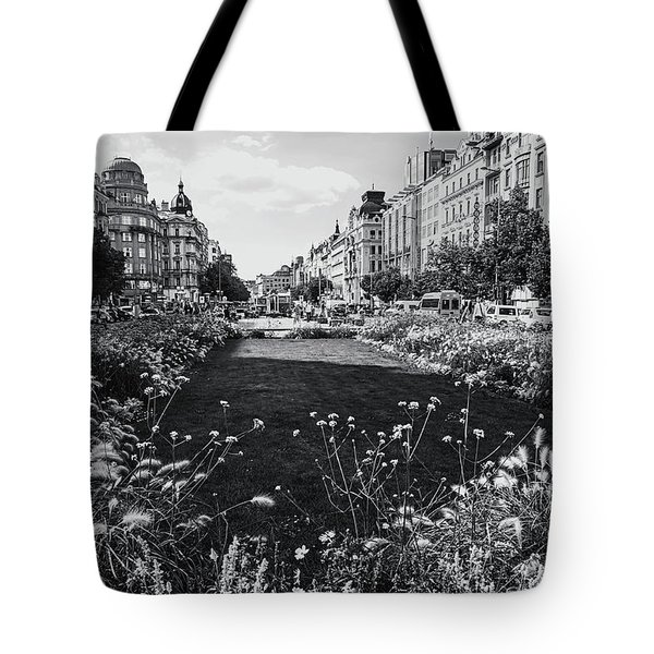 Tote Bag featuring the photograph Summer Prague. Black And White by Jenny Rainbow