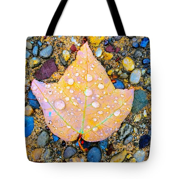 Summer Rain Leaf Tote Bag