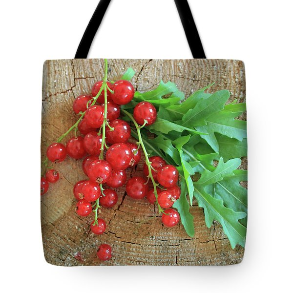 Summer, Red Berries And Rucola On Wooden Board Tote Bag