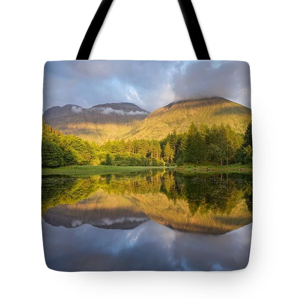 Summer Reflections At The Torren Lochan Tote Bag