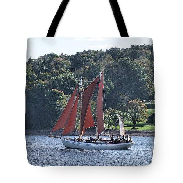 Summer Sailing In Lunenburg Tote Bag
